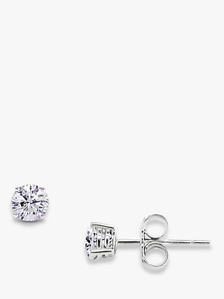E.W Adams 18ct White Gold Brilliant Cut Diamond Stud Earrings, 0.25ct