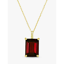 Buy EWA 9ct Gold Garnet Pendant Necklace, Red Online at johnlewis.com