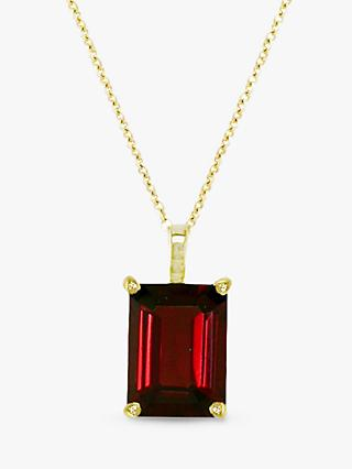 EWA 9ct Gold Garnet Pendant Necklace, Red
