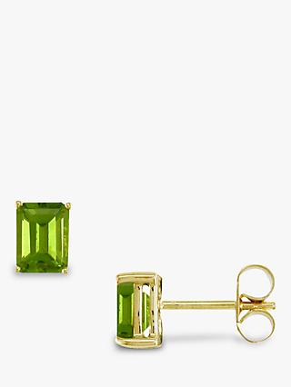EWA 9ct Gold Octagonal Stud Earrings, Peridot