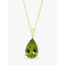 Buy EWA 9ct Yellow Gold and Peridot Pendant Necklace Online at johnlewis.com