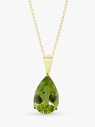 E.W Adams 9ct Yellow Gold and Peridot Pendant Necklace