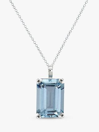 E.W Adams 9ct White Gold Baguette Pendant Necklace