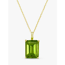 Buy EWA 9ct Yellow Gold and Emerald Cut Peridot Pendant Online at johnlewis.com