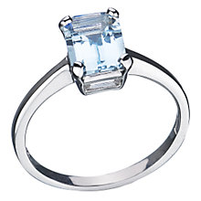 Buy EWA 9ct White Gold Aquamarine Cocktail Ring, Aquamarine Online at johnlewis.com