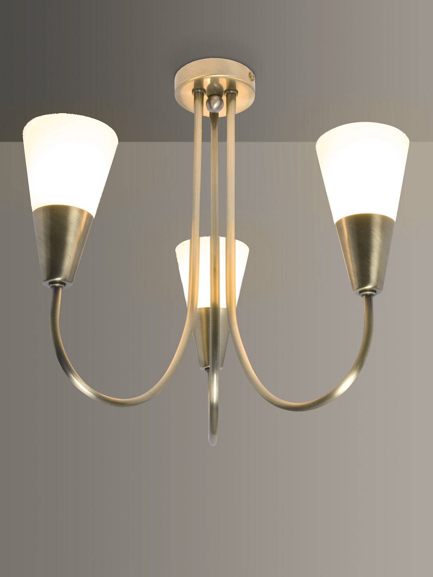 Buy John Lewis & Partners Lulu 3 Arm Ceiling Light, Antique Brass Online at johnlewis.com