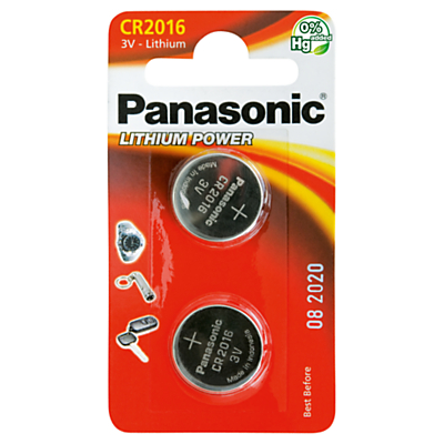 Panasonic 3V Lithium Coin Cell Battery, CR2016/2BP