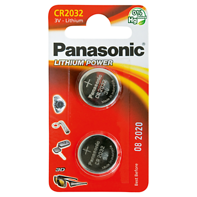Panasonic 3V Lithium Coin Cell Battery, CR2032/2BP