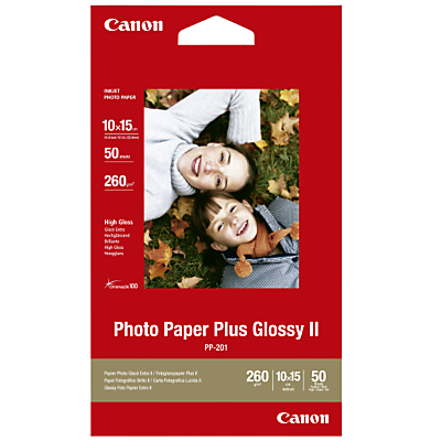 Product photo of Canon pp201 glossy photo paper 10 x 15cm 50 sheets