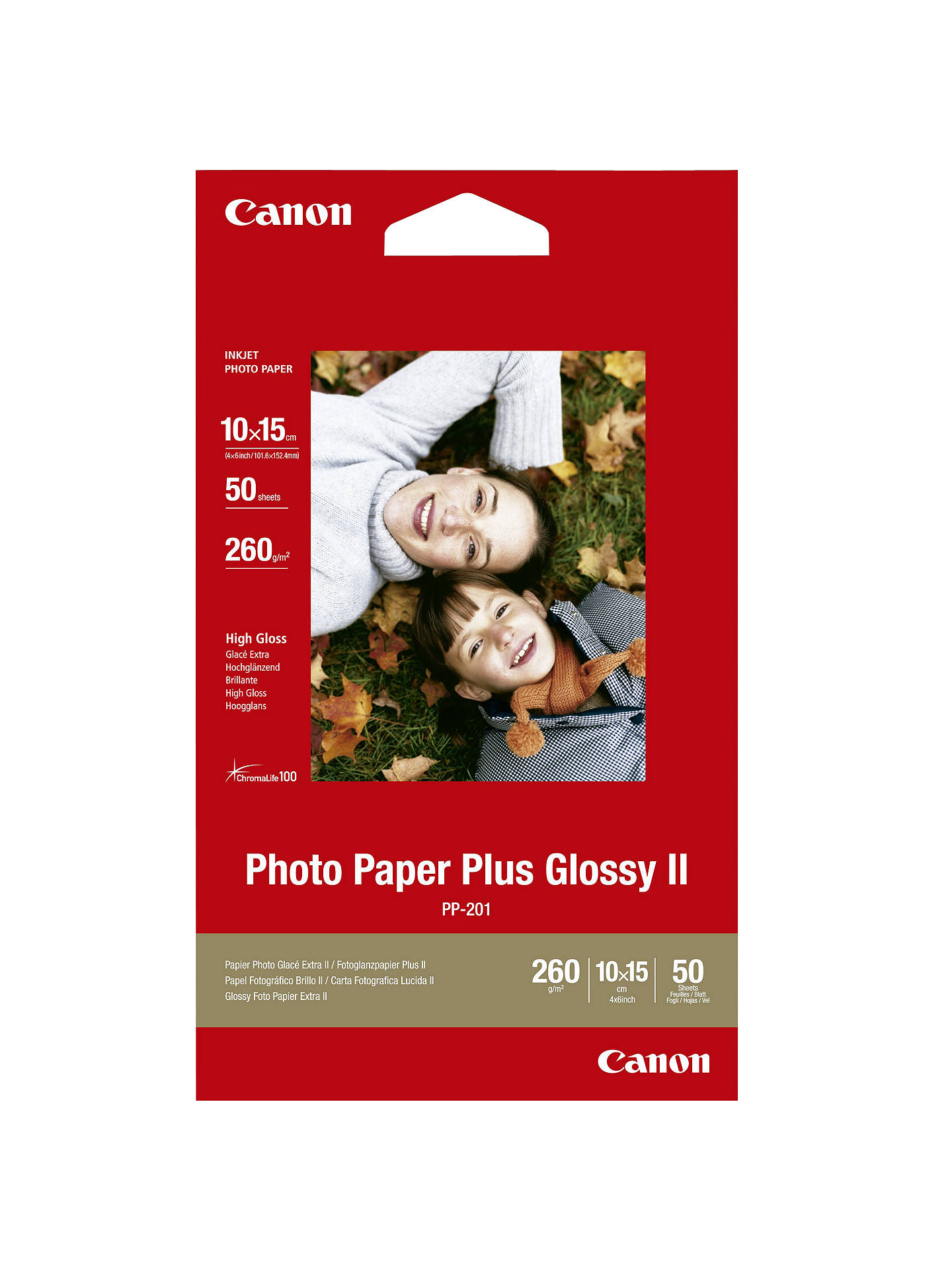 Buy Canon PP-201 Glossy Photo Paper, 10 x 15cm, 50 Sheets Online at johnlewis.com
