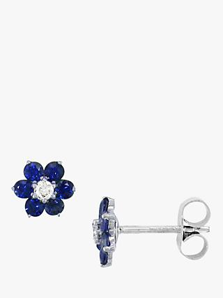 E.W Adams 18ct White Gold Diamond and Blue Sapphire Flower Stud Earrings
