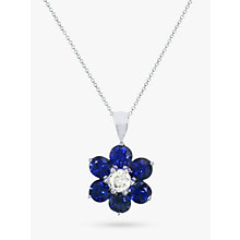 Buy EWA 18ct White Gold Diamond and Blue Sapphire Flower Pendant Necklace Online at johnlewis.com