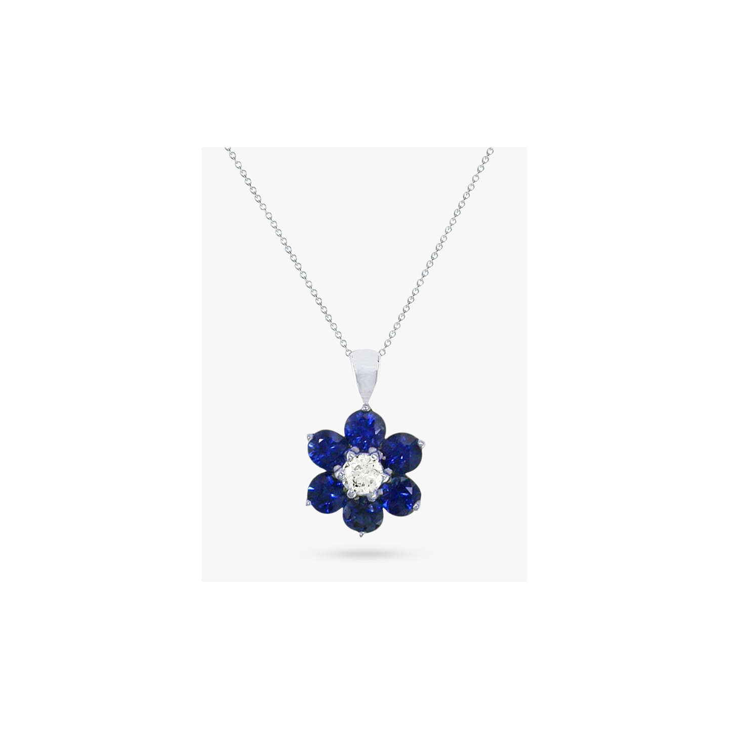 necklace diamond m and p sapphire blue platinum