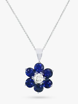 E.W Adams 18ct White Gold Diamond and Blue Sapphire Flower Pendant Necklace
