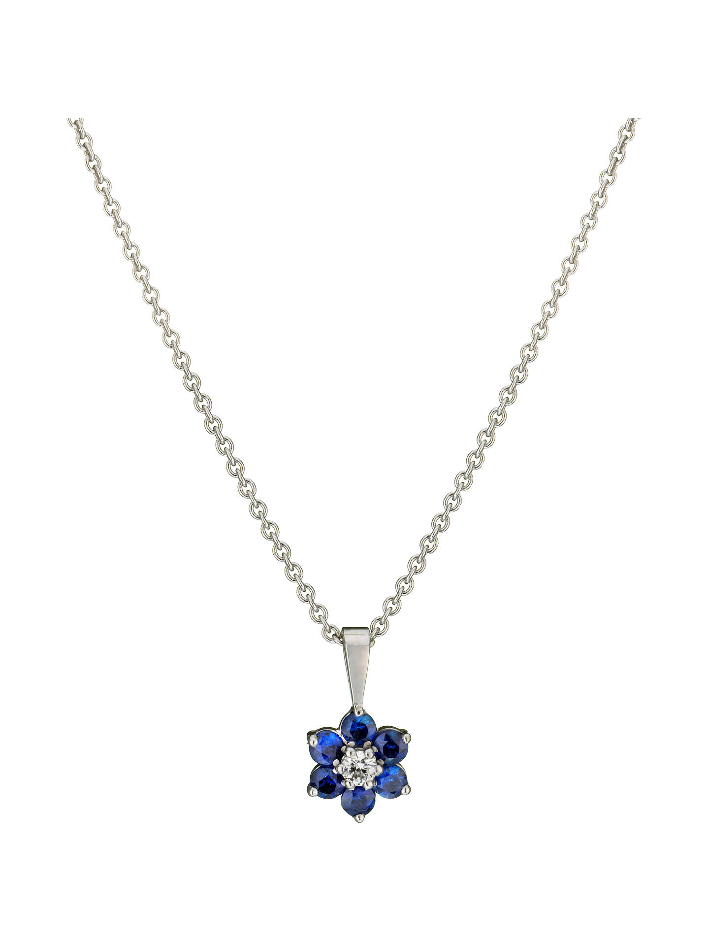 1c65df73287821 ... Buy E.W Adams 18ct White Gold Diamond and Blue Sapphire Flower Pendant  Necklace Online at johnlewis ...