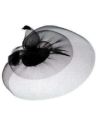 Buy Whiteleys Fine Mesh Fascinator, Black Online at johnlewis.com