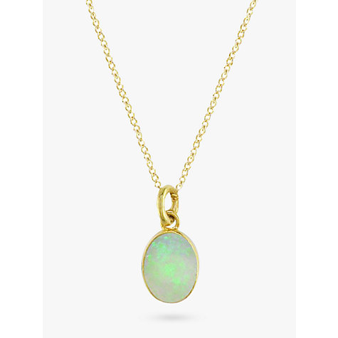 Buy EWA 9ct Yellow Gold Oval Pendant Necklace, Opal Online at johnlewis.com