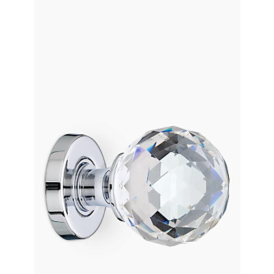 Image of John Lewis Crystal Mortice Knobs, Pack of 2, Chrome