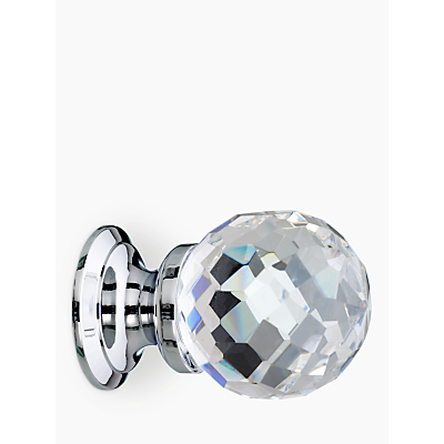 Image of John Lewis Cut Glass Cupboard Knob, Chrome, Dia.30mm