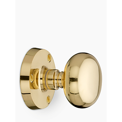 Image of John Lewis Mushroom Mortice Knob, Brass, Pair, Dia.60mm