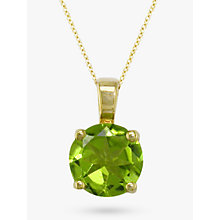 Buy EWA 9ct Yellow Gold Round Pendant Necklace, Peridot Online at johnlewis.com