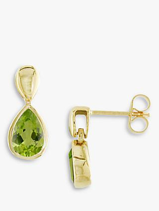 E.W Adams 9ct Gold Pear Drop Earrings, Peridot