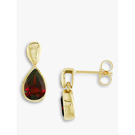 Buy EWA 9ct Yellow Gold Garnet Pear Drop Earrings, Gold/Red Online at johnlewis.com