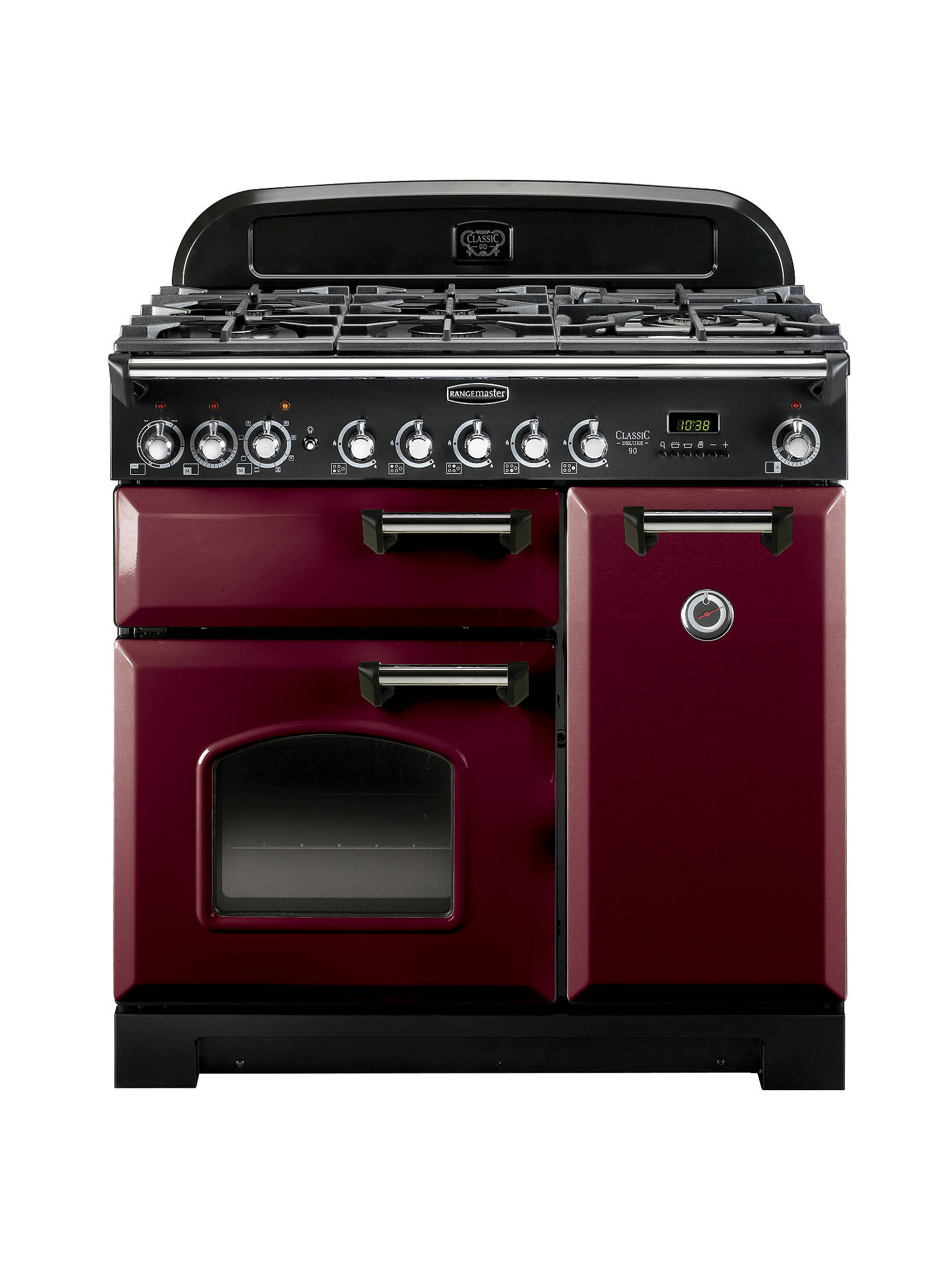 BuyRangemaster Classic Deluxe 90 Dual Fuel Range Cooker, Cranberry/Chrome Trim Online at johnlewis.com