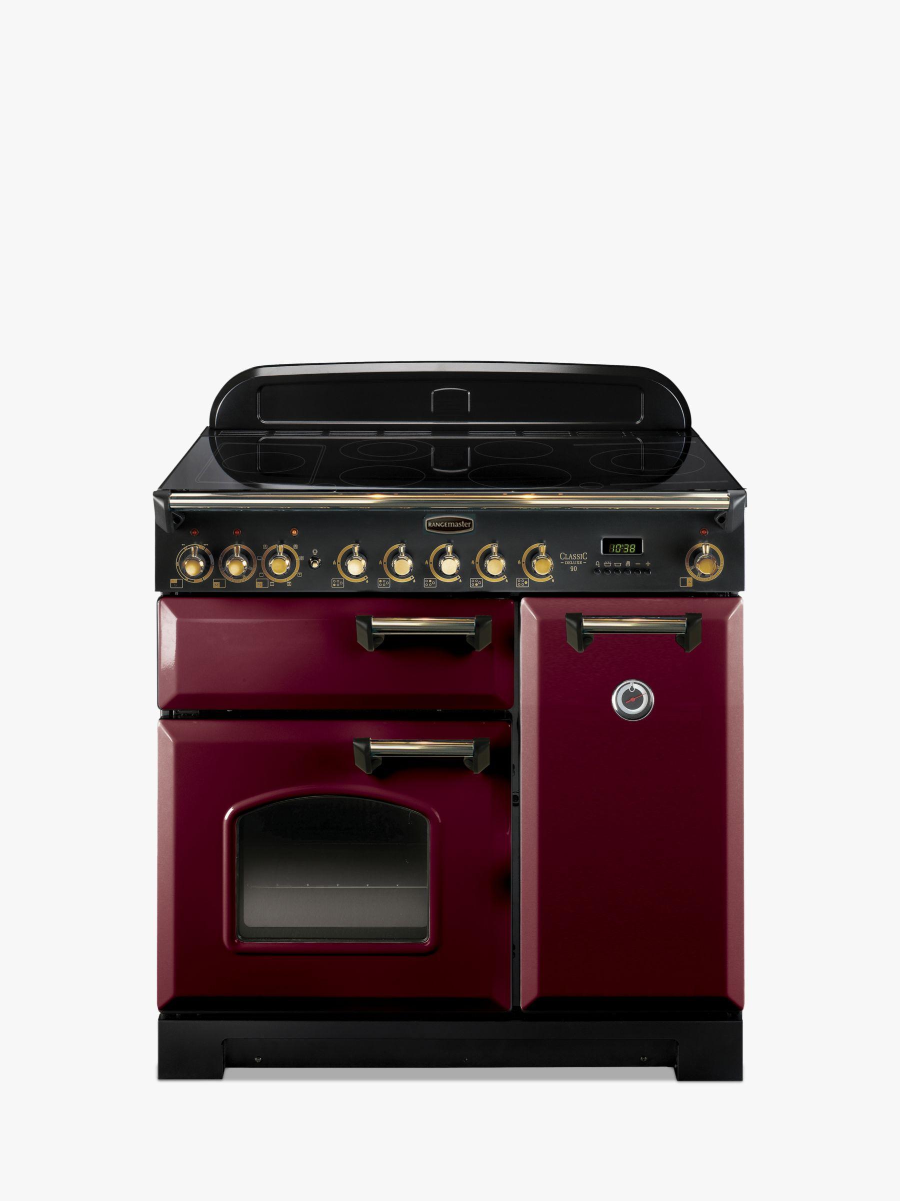 Rangemaster Rangemaster Classic Deluxe 90 Electric Range Cooker, Cranberry/Brass Trim