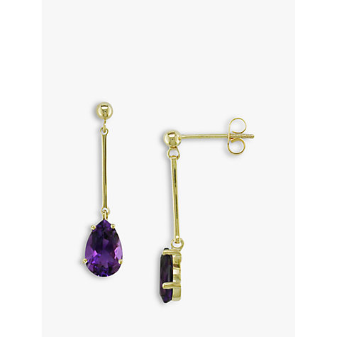 Buy EWA 9ct Gold and Amethyst Teardrop Earrings, Gold/Purple Online at johnlewis.com