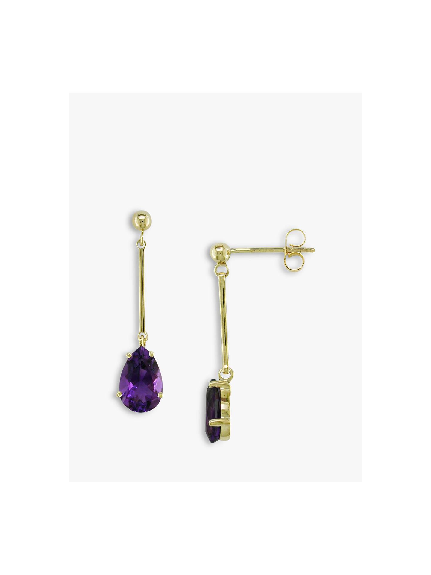 Ewa 9ct Gold And Amethyst Teardrop Earrings Purple Online At Johnlewis