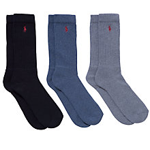 Buy Polo Ralph Lauren Classic Crew Socks, Pack of 3, One Size, Multi Online at johnlewis.com