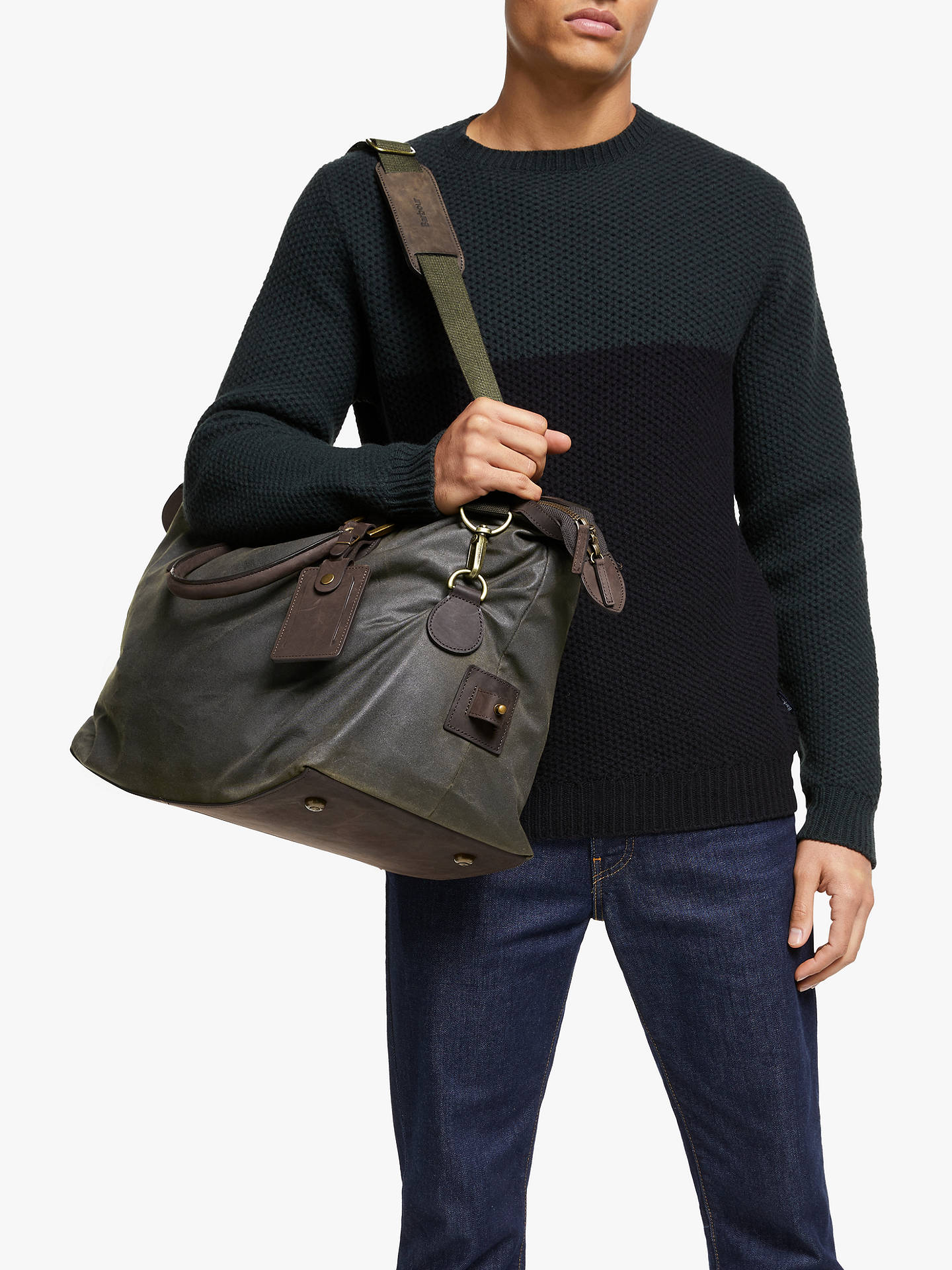 BuyBarbour Wax Cotton Travel Explorer Holdall, Olive Online at johnlewis.com