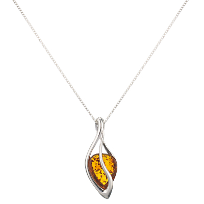 Goldmajor Teardrop Amber Pendant Necklace SilverOrange