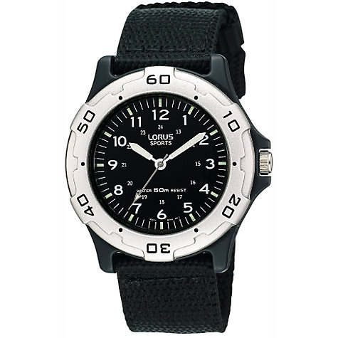Buy Lorus RRS61NX9 Boys' Sports Fabric Strap Watch, Black Online at johnlewis.com
