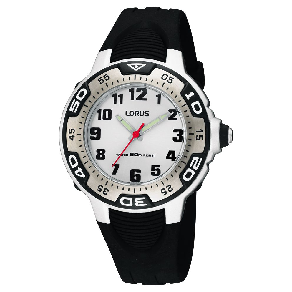 Lorus Lorus RG237GX9 Children's Lumibrite Hands Rubber Strap Watch, Black/White
