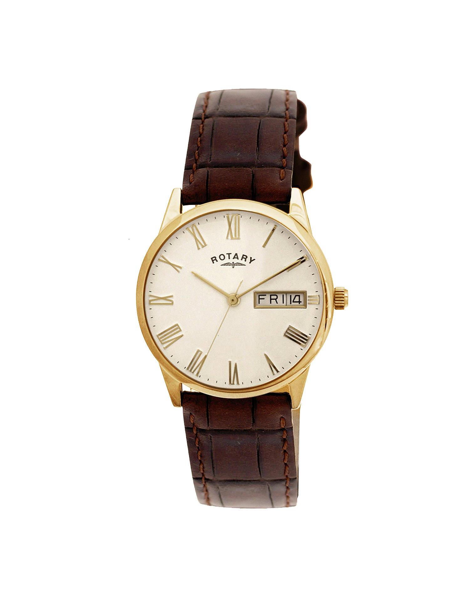 Rotary GS0232432 Men's Ultra Slim Leather Strap Watch, Dark