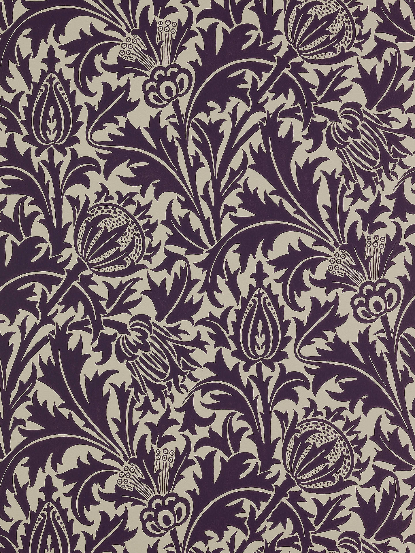 Buy Morris & Co. Thistle Wallpaper, Mulberry / Linen, DMOWTH101 Online at johnlewis.com