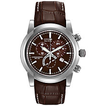 Buy Citizen AT0550-11X Men's Sport Eco Drive Chronograph Leather Strap Watch, Brown Online at johnlewis.com