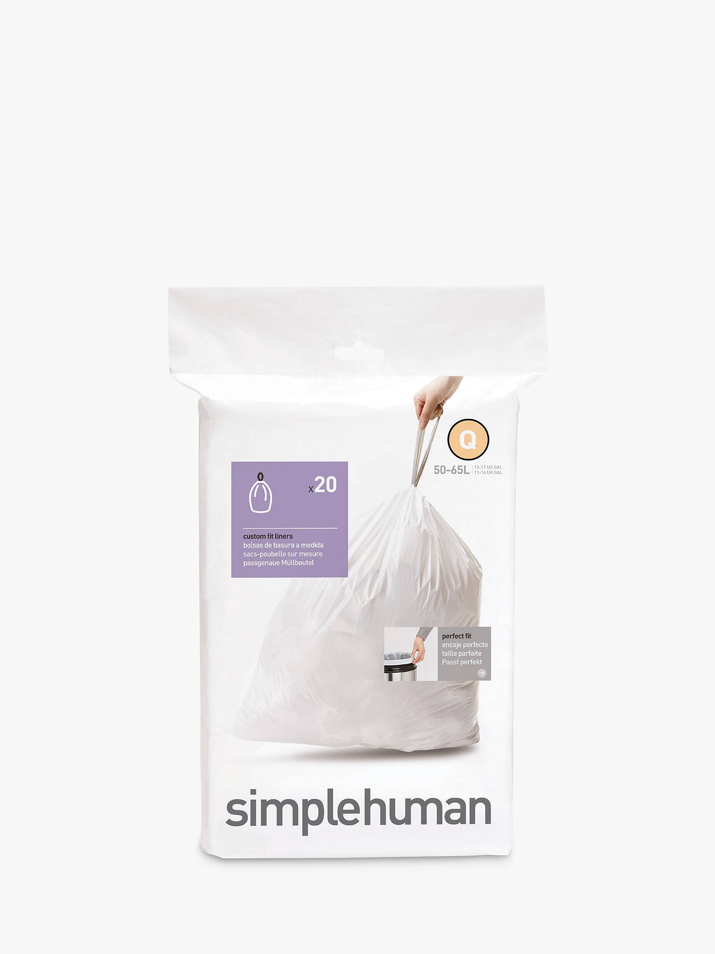 Buy simplehuman Bin Liners, Size Q, Pack of 20 Online at johnlewis.com