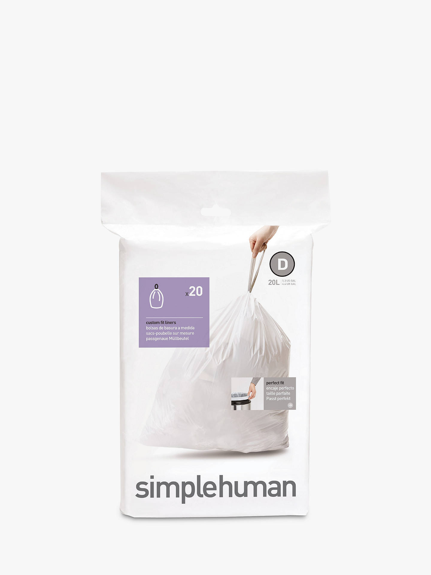Buysimplehuman Bin Liners, Size D, Pack of 20 Online at johnlewis.com