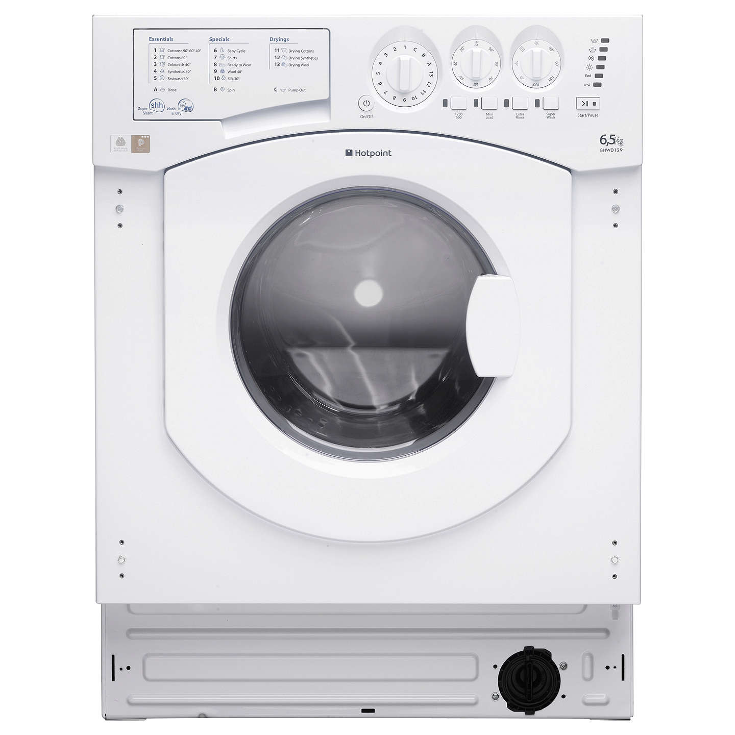 BuyHotpoint BHWD129 Aquarius Integrated Washer Dryer, White Online at johnlewis.com