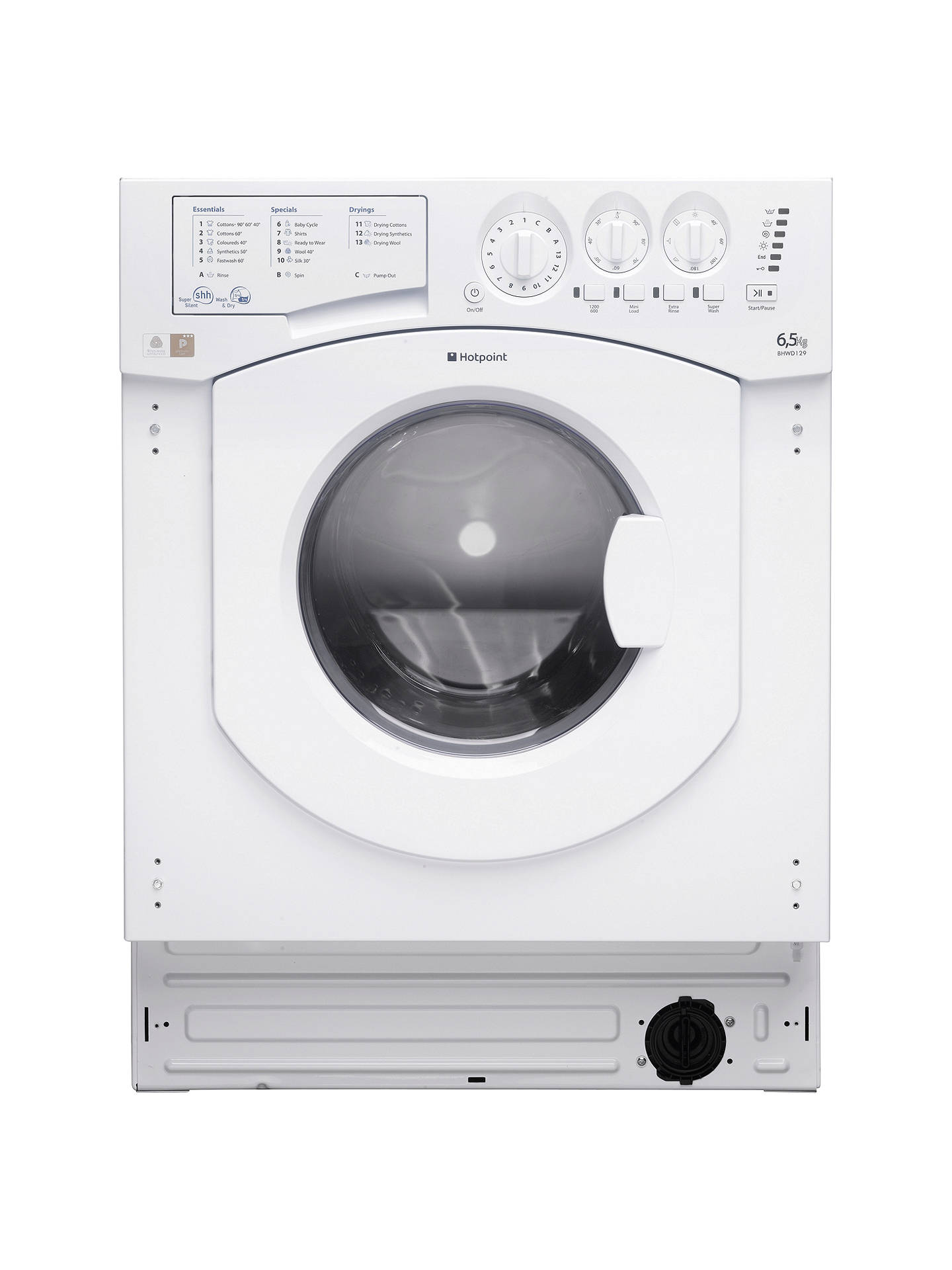 buy hotpoint bhwd129 aquarius integrated washer dryer, white online at  johnlewis com