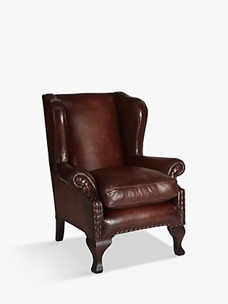 Compton Range, John Lewis & Partners Compton Leather Wing Armchair, Hand Antique