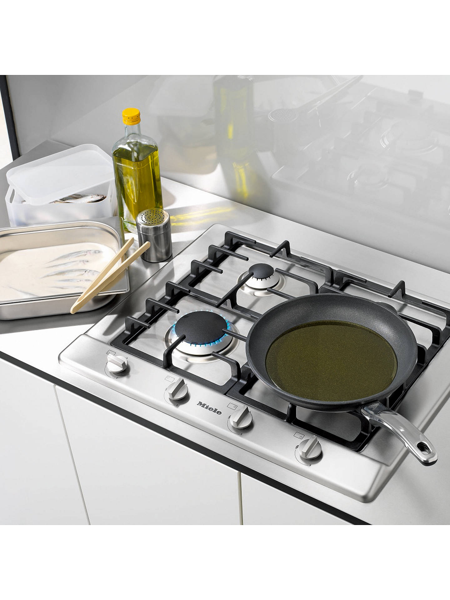 BuyMiele KM2010 Gas Hob, Stainless Steel Online at johnlewis.com