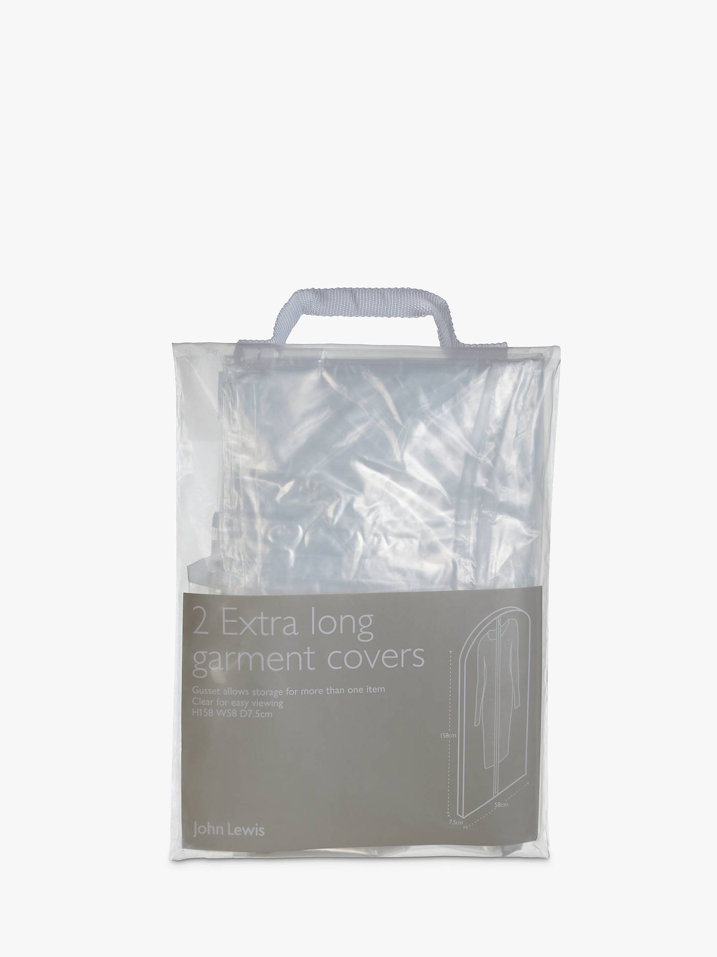 BuyJohn Lewis & Partners Transparent Extra Long Clothes Covers, Pack of 2 Online at johnlewis.com