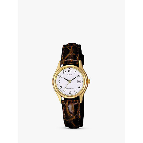 Buy Lorus RXT94AX9 Women's Date Leather Strap Watch, Brown/White Online at johnlewis.com
