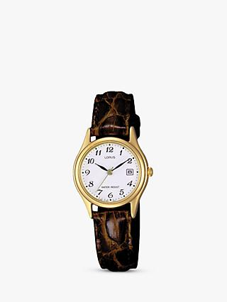 Lorus RXT94AX9 Women's Date Leather Strap Watch, Brown/White