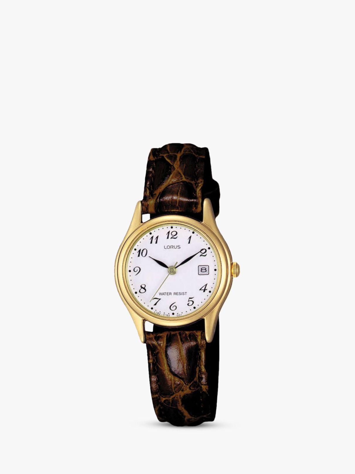Lorus Lorus RXT94AX9 Women's Date Leather Strap Watch, Brown/White