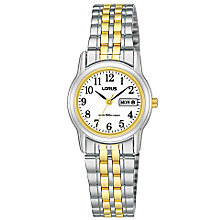 Buy Lorus RXU11AX9 Women's Day Date Two Tone Bracelet Strap Watch, Silver/Gold Online at johnlewis.com